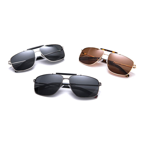 Oversized Mens Womens Stainless Steel Aviation Frame Polarized Sunglasses with Acetate Tubing at The Bridge