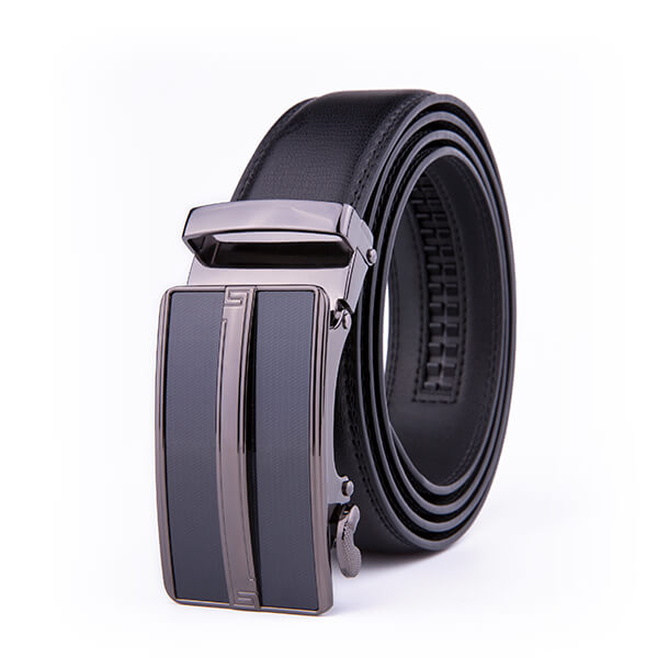 Black Dress Formal Split Leather Mens Belts Ratchet Automatic Buckle Belt