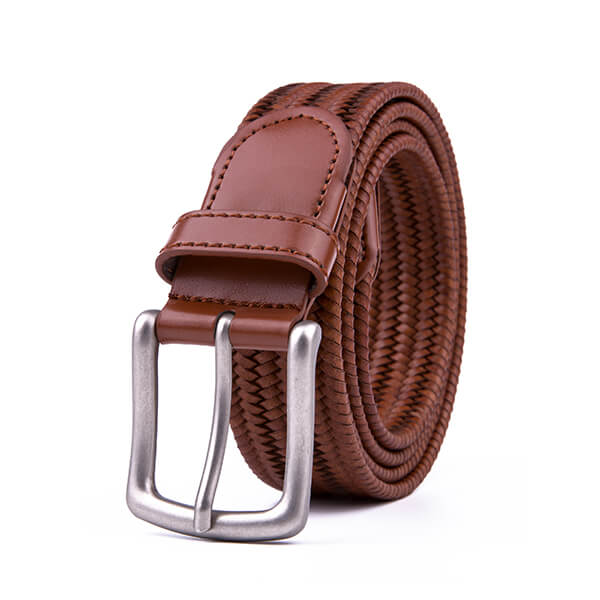 Vintage Bonded Leather Braided Belt Elastic Stretch Belt
