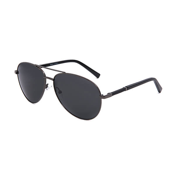 Stainless Steel Double  Bridge Polarized Sunglasses Mens Classic Aviator Frame 100% UV Protection