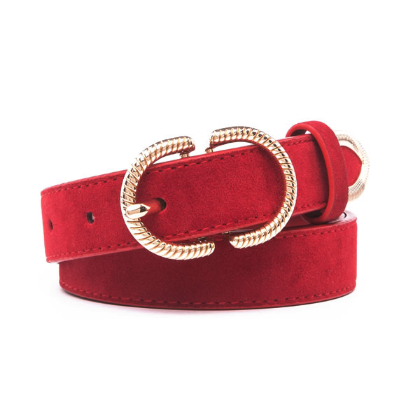 Genuine Suede Leather Belts for Women with Double D Ring Pin Buckle