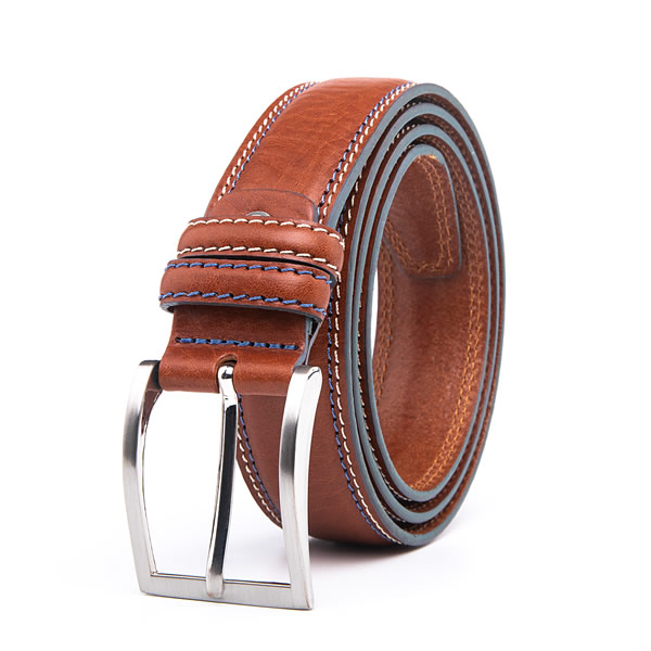 Cognac Vintage Casual Full Grain Leather Mens Designer Belt