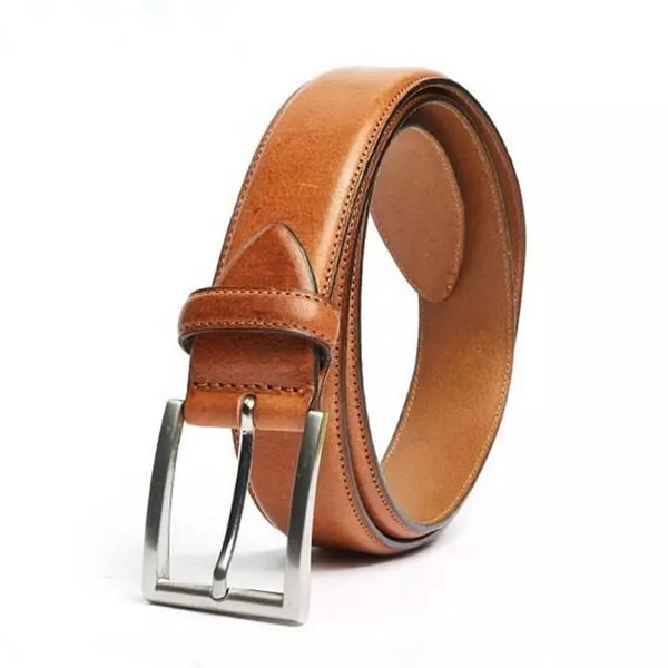 Adjustable Cognac Vintage Full Grain Genuine Leather Belt for Men