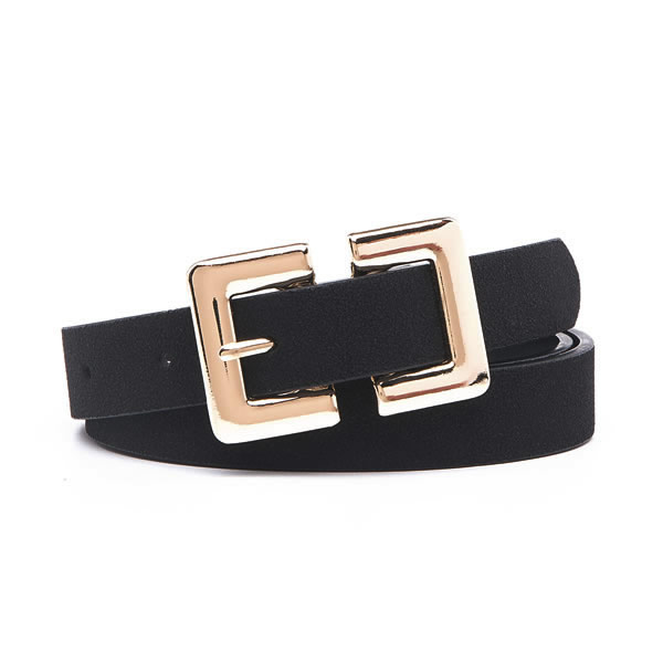 Genuine Suede Leather Dress Trendy Belts with Square Metal Pin Buckle for Women