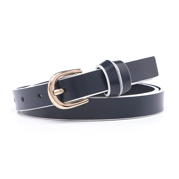 Pure Full Grain Genuine Leather Skinny Dress Belts with Pin Clasp for Ladies