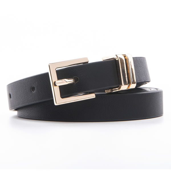 Female Pin Buckle Laides PU Leather  Dress Belts with Two Metal Loops