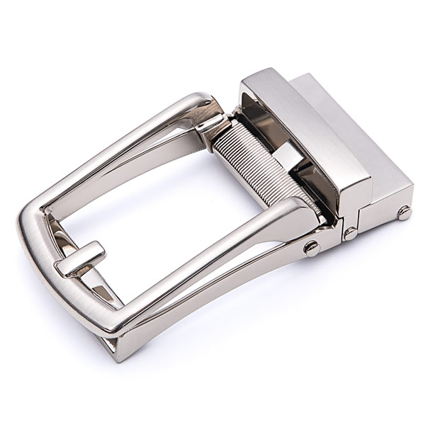 Dress Belt Alloy Automatic Brushed Silver Belt Buckle