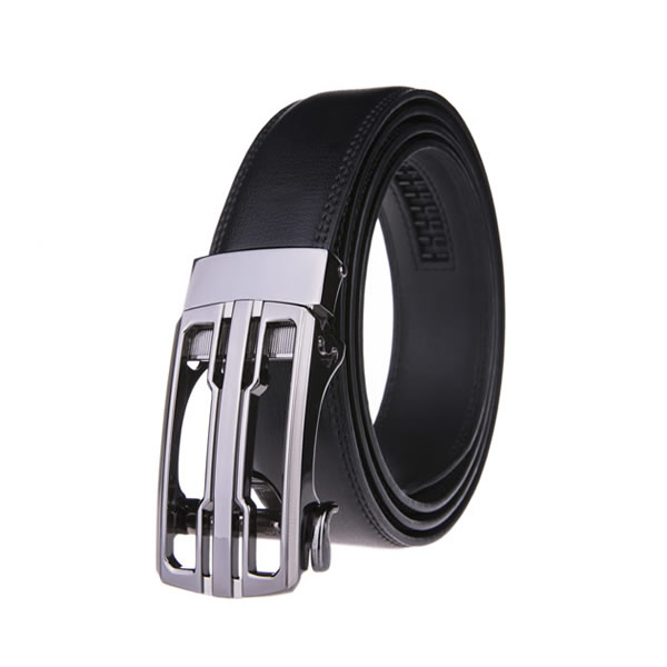 Dress Black Split Leather Belt Ratchet Belt