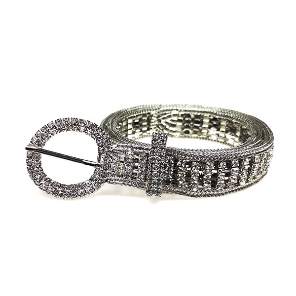 Women  Rhinestone Belt Sparkle Silver Chain with O Ring Buckle