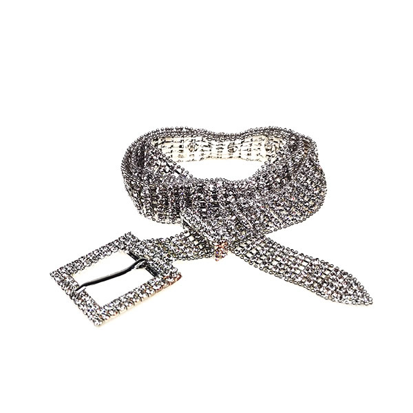 Women Sparkly Diamond Studded Silver Chain Waistband Belt for Jeans
