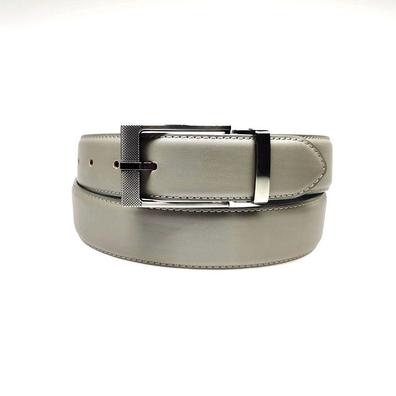 Mens Black Pin Clip Buckle PU Leather Dress Belt