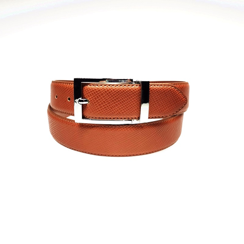 Classic Brown PU Leather Dress Mens Belt with Clip Pin Buckle