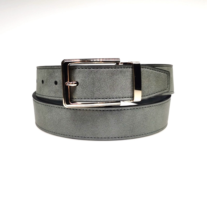 Casual PU Leather Belt with Pin Clip Buckle for Dress Men