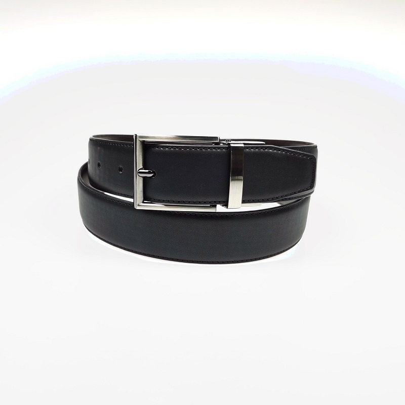 Mens Business Simple Automatic Buckle Reversible Belt PU Leather Rotatable Belt