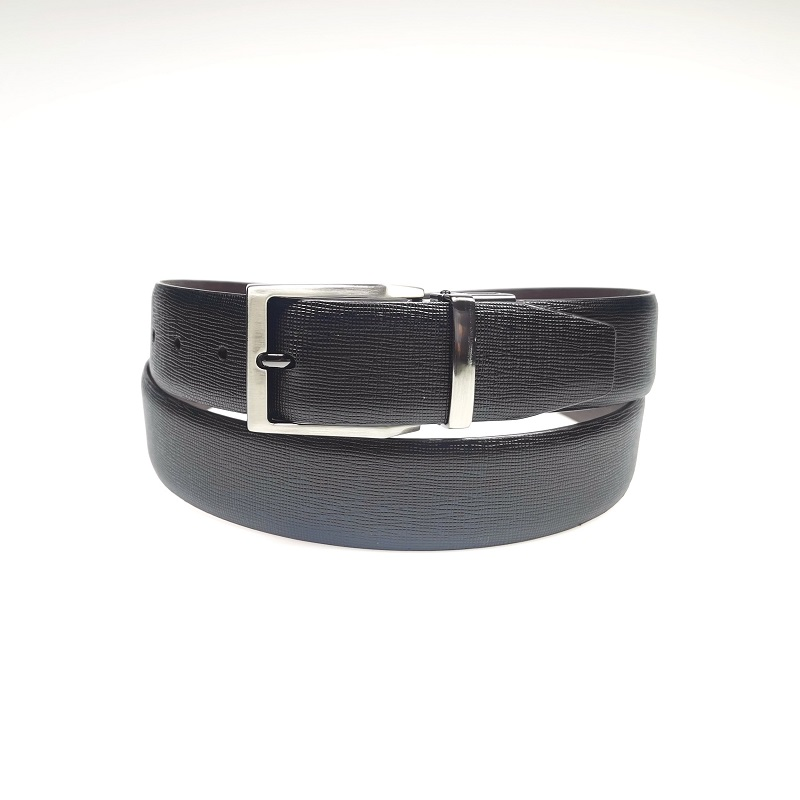 Double Side Black Brown Reversible Rotated Buckle Belt For Men