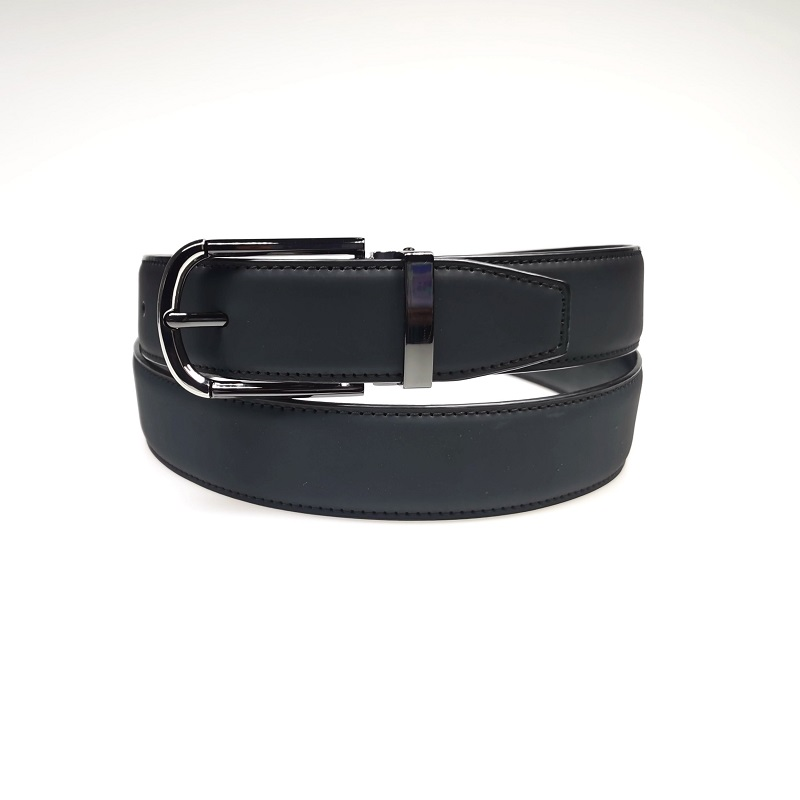Black Pin Buckle PU Belt for Men with Clips for Jeans